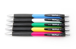12 עט כדורי לחצן עם גריפ גומי Triple B-527