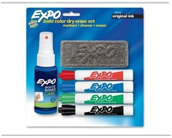 סט 6 טושים מחיקים וספוג מחיקה Expo